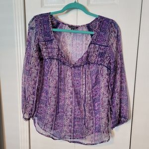 AEO Bohemian sheer blouse